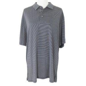 PGA Tour Dark Navy Blue & White Striped Polo Shirt